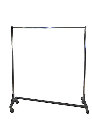 5' Foot Economy Steel Z Rack Garment Rack w/ Black Base & Chrome Uprights