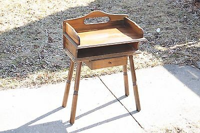 Vintage Mid Century Wood Chair Side Table W/drawer Or Will Be Children's Desk?