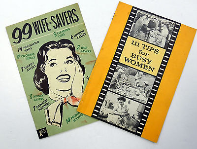 Lot Of 2 1950's HOUSEWIFE Tips BOOKLETS Cooking CLEANING Saving MEALS etc AK