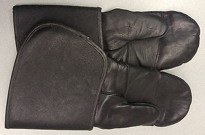 Vintage Black Leather Motorcycle Mitts and Gloves in Excellent condition Size M