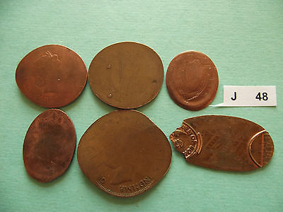 Lot Of 6 Elongated Coins #j48
