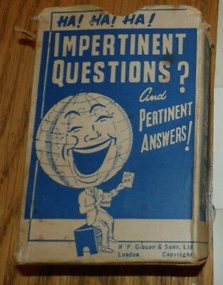 Impertinent Questions & Pertinent Answers Vintage Card Game
