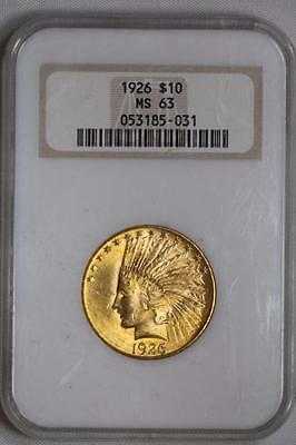 1926 $10 Gold Indian Head Eagle MS63 NGC US Mint Coin #031