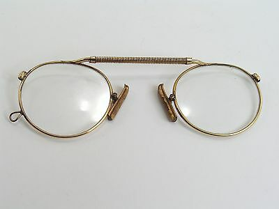 Pince Nez Spectacles / Spring Bridge / Gold Plated / Vintage