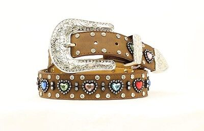 BROWN LEATHER ~Multi-Colored HEART Conchos~ Girl's WESTERN BELT Cowkid N4426844