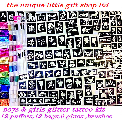 GLITTER TATTOO KIT boys girls 200 stencils 24 glitters 6 glue  bruhes