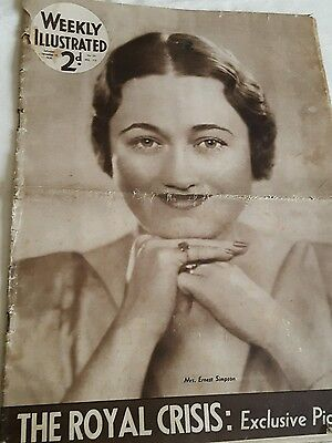 Weekly Illustrated Magazine Dec 12th 1936 The Royal Crisis Wallis Simpson etc