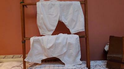 Two pairs victorian bloomers shorts knickers original antique underwear small