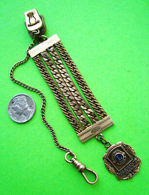 Antique GOLD FILLED LIONS CLUB PRESIDENT'S AWARD CHAIN WATCH FOB & PENDANT Neat
