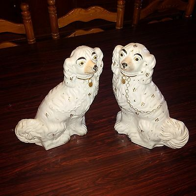 Vintage Pair Of Staffordshire Fireside Dogs.