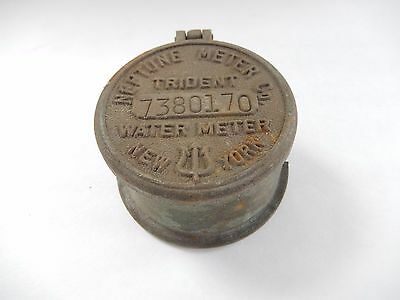 Vintage Trident Water METER Brass Cover By Neptune Water Co.NY