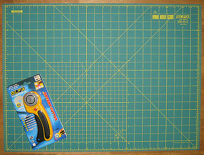"""OLFA Rotary Cutter RTY-2/DX & Cutting Mat RM-IC-S 24"""" x 18"""" Fabric Leather Paper"""