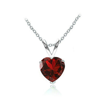 Sterling Silver Created Ruby 7mm Heart Solitaire Necklace