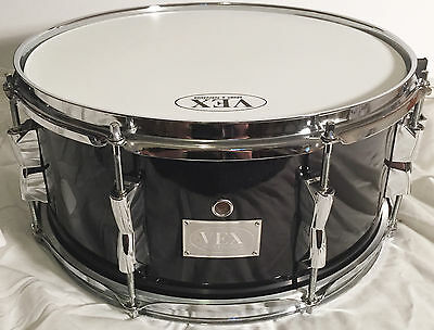 """Vex 10-Ply Maple Snare Drum 14"""" x 6.5"""" Black Onyx Finish, 2.3mm hoops NEW"""