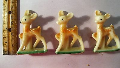 Lot Of 3 Vintage Gurley Young  Reindeer Christmas Candles