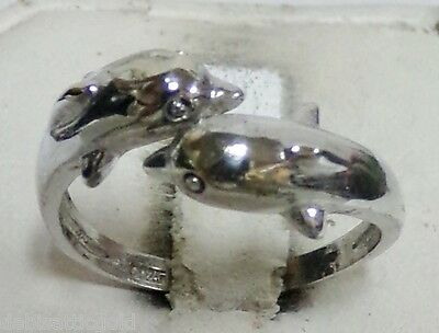 925 Sterling Silver DOLPHIN Wrap Sz 8.25 Ladie's Ring Adjustable Band