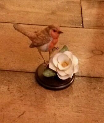 country artists hand painted hand crafted robin with camellia