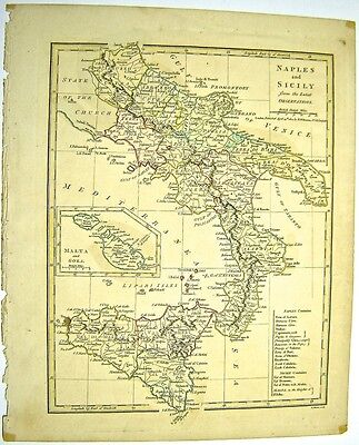 Robert Wilkinson 1800 Engraved Hand Colored Map Of Italy Naples Sicily Map