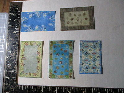 Dollhouse lot of area rugs for 1:24 or 1:48 scale  Nautical designs
