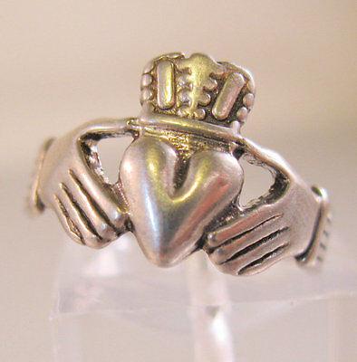 Claddagh Celtic Ring Sterling Silver Vintage Ring Size 5 Fine Jewelry Jewellery