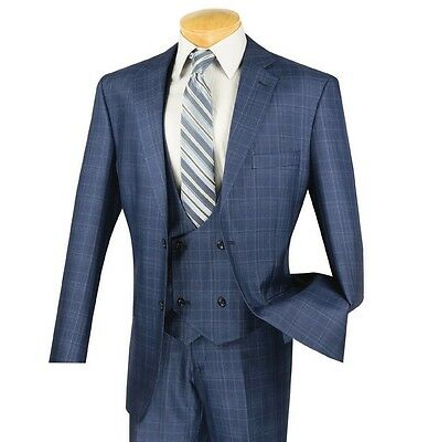 Men's Blue Glen Plaid 3 Piece 2 Button Classic-Fit Suit NEW w/ Matching Vest