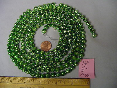 "Christmas Garland Mercury Glass Green 76"" Long 5/16"" Beads #107A Vintage"