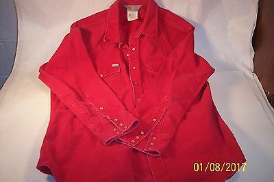 Vintage Rugged Outdoor Wear Carhartt Red Thick Long Sleeve Pearl Snap Shirt Usa