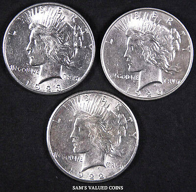 1922-S, 1923-S and 1926-D Peace Dollar 3 Coin Set Uncirculated - BU - (P432)