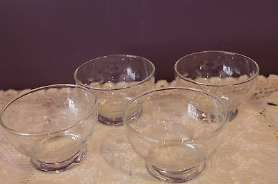 Set Of 4 Clear Glass Footed Berry / Dessert Bowls - Etched