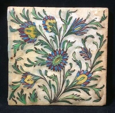 Antique Persian Islamic Iznik Painted Glazed Tile Floral Design 8x8