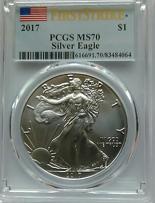 PCGS MS70 First Strike 2017 Silver AMERICAN EAGLE Dollar $1 Coin 1oz 999 US Mint