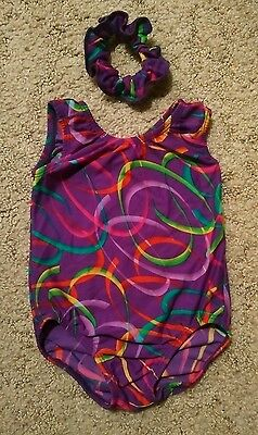 Girls Gymnastics Dance Tumbling Leotard Approx. Size 4 Purple w/ Rainbow Swirls