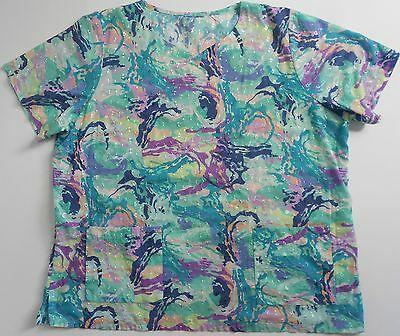 Unbranded Womens Nurses Uniform Scrub Top Embroidered Floral  Sz 3XL