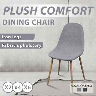 2/4/6pc Light Grey/Dark Grey Fabric Upholstery Dining Chairs Iron Legs Kitchen