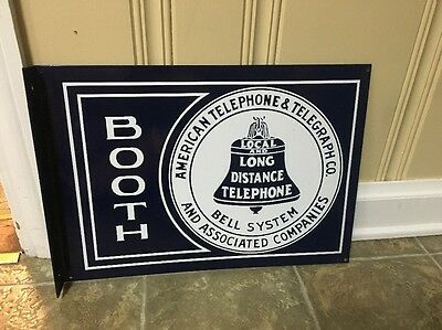 Porcelain Bell System Telephone Booth Advertising Sign Flange NICE!!