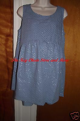 Women's Maternity Shorts and Top Set * Blue Fabric/Silver Metallic Size Med