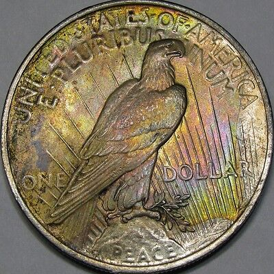 1923 $1 Pcgs Ms63 Rainbow Peace Dollar ~ Gorgeous Roll-End Toning!