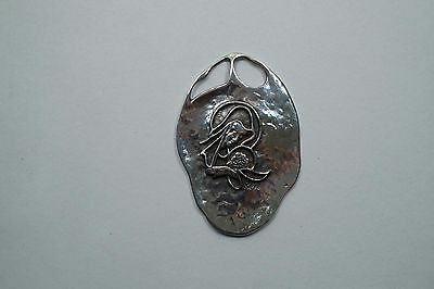 Large Sterling Silver Modernist Style Madonna & Child Pendant Signed Reyt  Rs007
