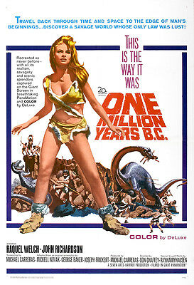 One Million Years B.C. Movie Poster Print - 1966 - Sci-Fi - 1 Sheet Artwork