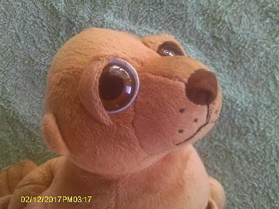 Chocolate Brown Plush Big Eyed Sea Lion with Pouch on Front