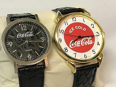 His and Hers COCA COLA WATCHES, Ice Cold, Black Leather, Dated: 2001 & 2003