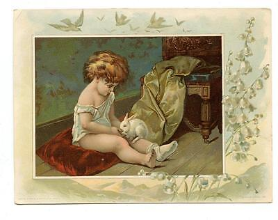 #3 LION COFFEE WOOLSON SPICE Easter Greetings LARGE antique victorian TRADE CARD