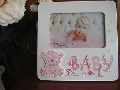 Baby Pink/White Wooden Photo Frame Cute Gift Girl Teddy