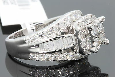 10K White Gold 2.63 Ct Women Real Diamond Engagement Ring Wedding Ring Bridal