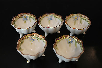 5 Porcelain Footed Open Salt Dishes With Hand Painted Blue Flower