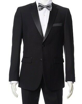 Men's Black Classic-Fit Formal Polyester Tuxedo Suit w/ Sateen Lapel & Trim NEW