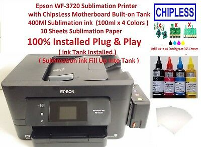 Epson WF-3620 Sublimation Printer with ChipsLess Motherboard Built-on Tank & ink