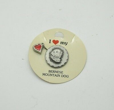 RAWCLIFFE Fine Pewter 1984 Dog I LOVE MY BERNESE MOUNTAIN DOG Pin Heart