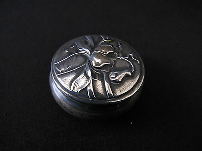 Pill Snuff Box Hallmarked Victorian Art Nouveau Silver Hinged Repousse Flowers