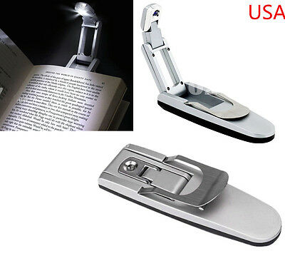 Book Light Clip Adjustable Bright Reading Folding LED Lamp Flexible Booklight US